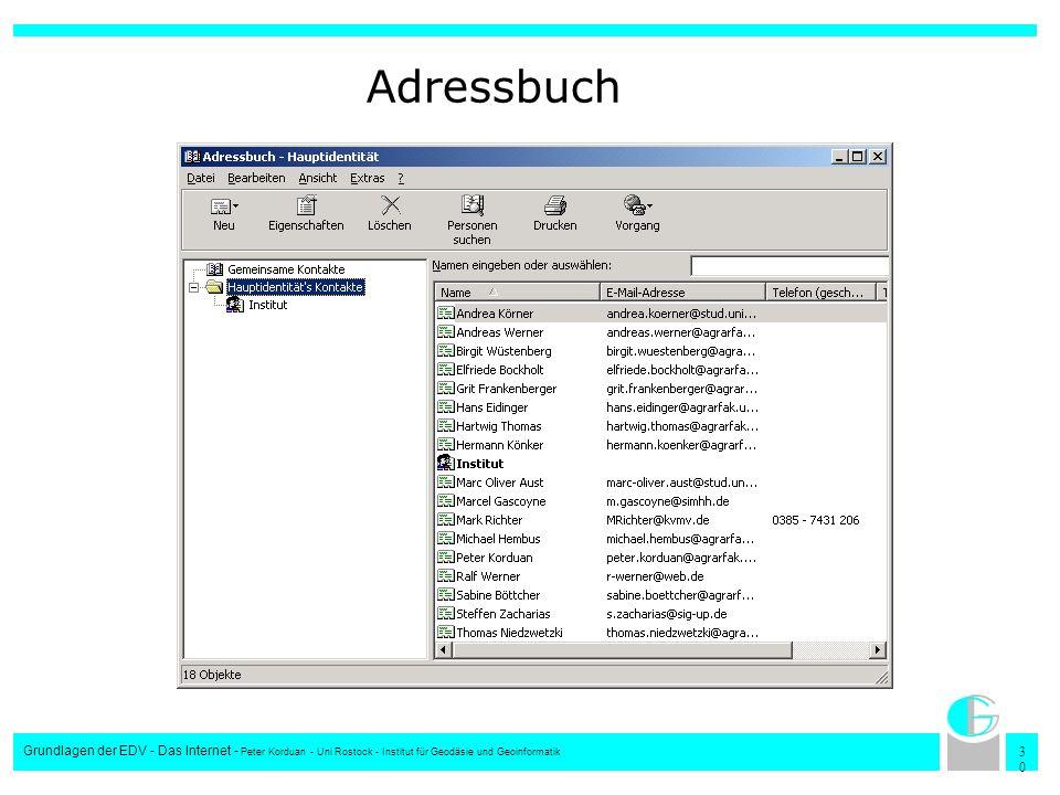 Adressbuch Grundlagen der EDV - Das Internet - Peter Korduan - Uni Rostock - Institut für Geodäsie und Geoinformatik.