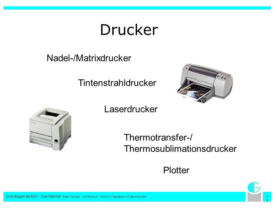 Drucker Nadel-/Matrixdrucker Tintenstrahldrucker Laserdrucker
