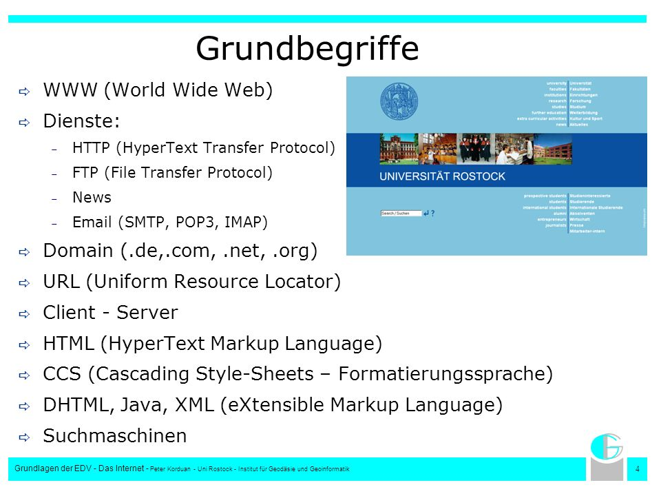 Grundbegriffe WWW (World Wide Web) Dienste: