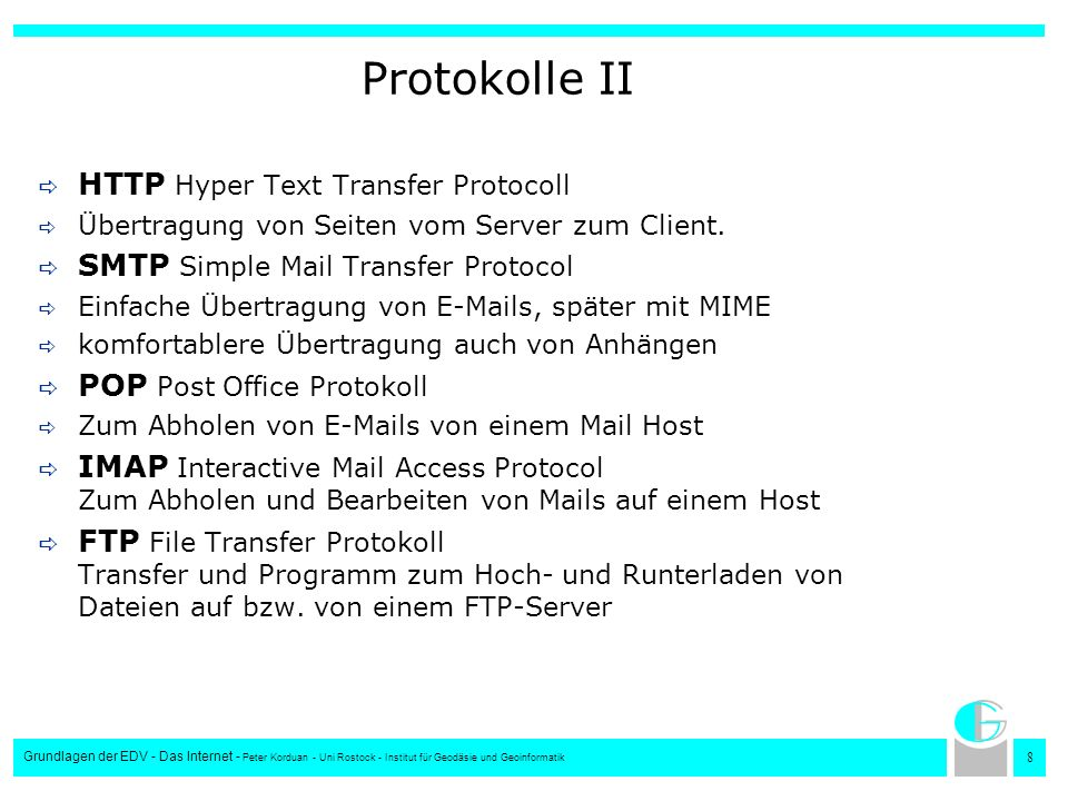 Protokolle II HTTP Hyper Text Transfer Protocoll