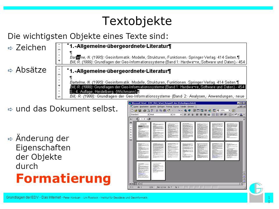 Textobjekte Die wichtigsten Objekte eines Texte sind: Zeichen Absätze