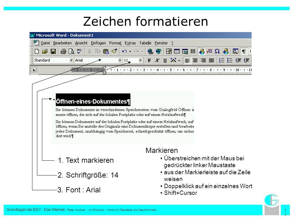 Zeichen formatieren Markieren 1. Text markieren 2. Schriftgröße: 14