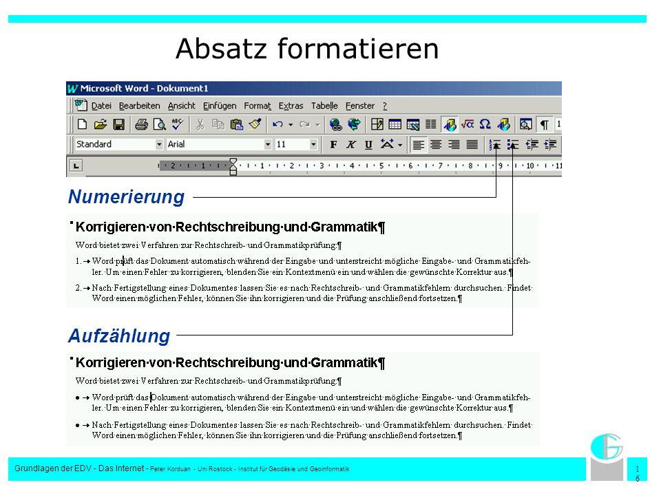 Absatz formatieren Numerierung Aufzählung