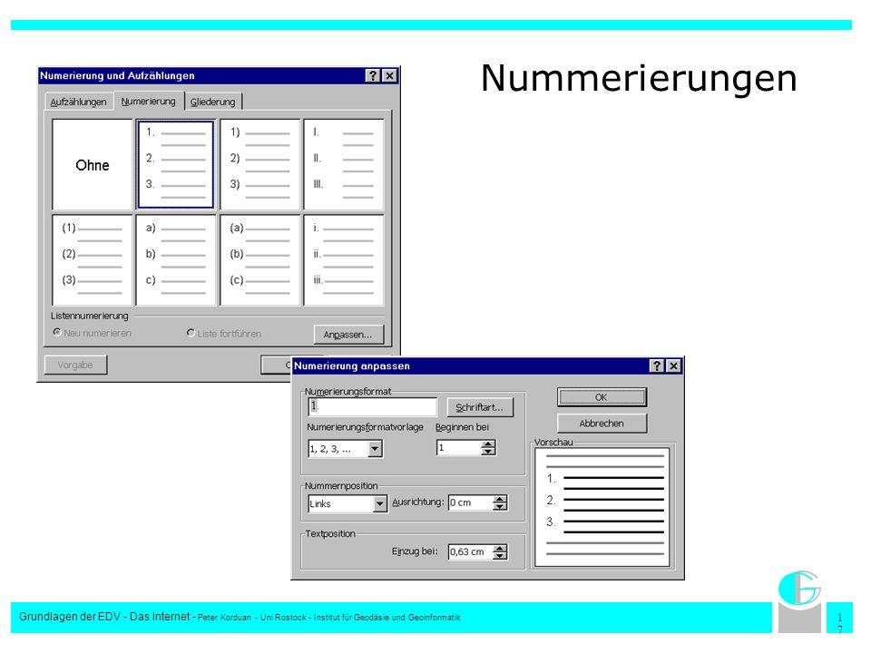 Nummerierungen Grundlagen der EDV - Das Internet - Peter Korduan - Uni Rostock - Institut für Geodäsie und Geoinformatik.