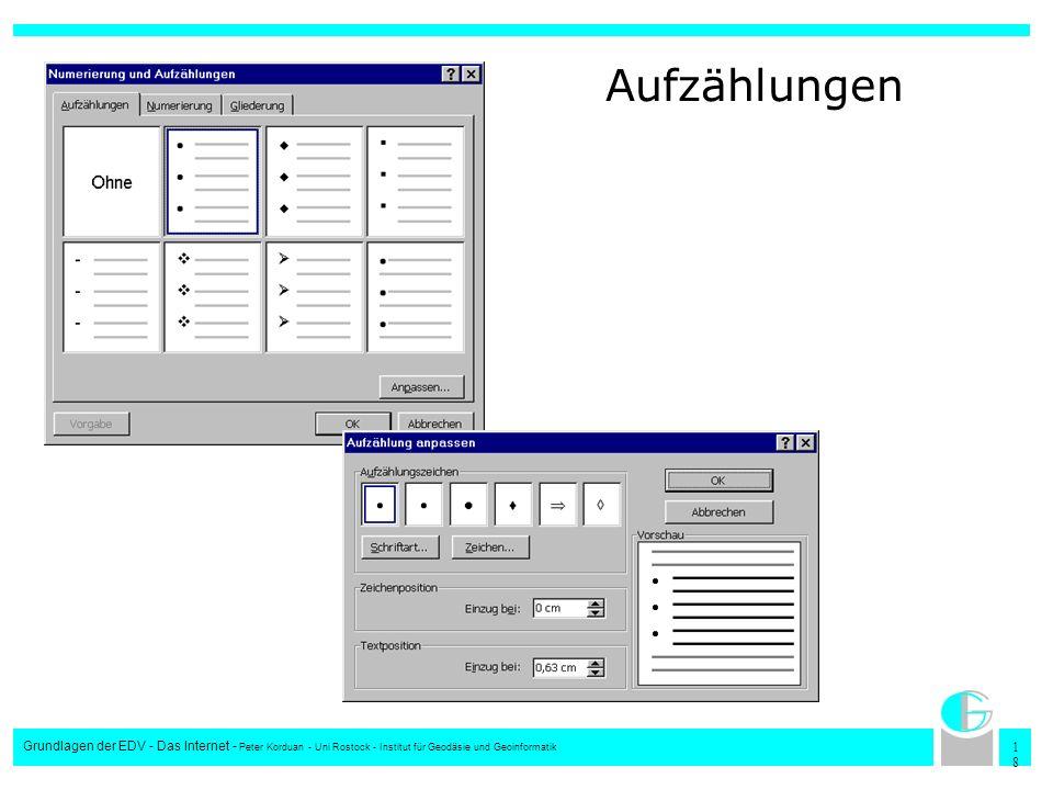 Aufzählungen Grundlagen der EDV - Das Internet - Peter Korduan - Uni Rostock - Institut für Geodäsie und Geoinformatik.