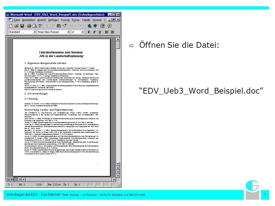 Öffnen Sie die Datei: EDV_Ueb3_Word_Beispiel.doc