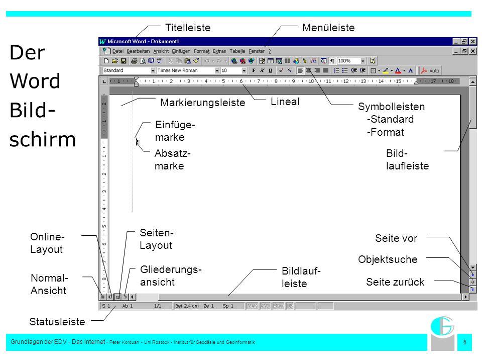 Der Word Bild- schirm Titelleiste Menüleiste Markierungsleiste Lineal
