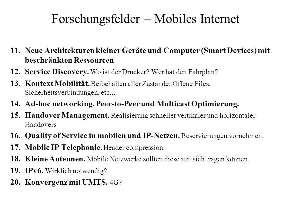 Forschungsfelder – Mobiles Internet