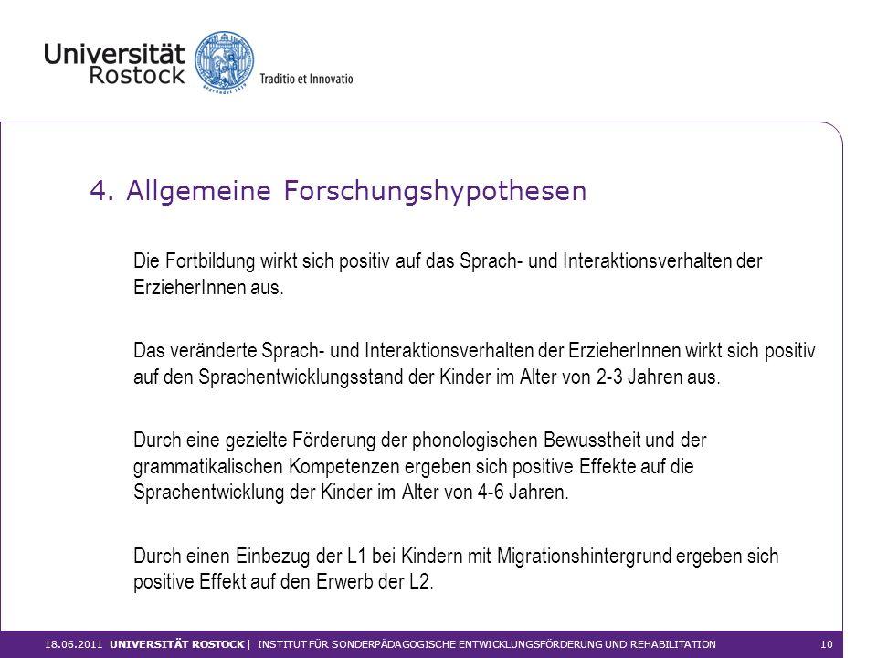 4. Allgemeine Forschungshypothesen