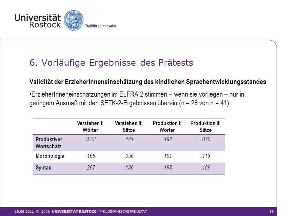 6. Vorläufige Ergebnisse des Prätests