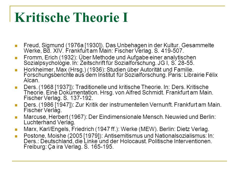 Kritische Theorie I
