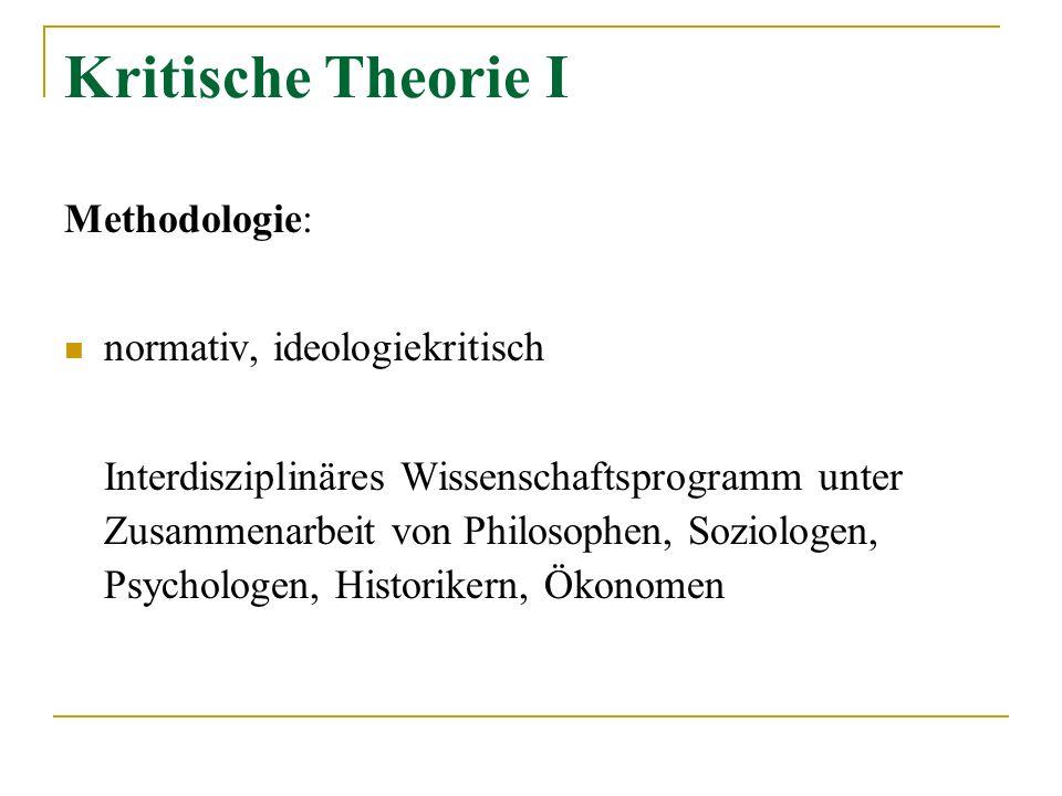 Kritische Theorie I Methodologie: normativ, ideologiekritisch