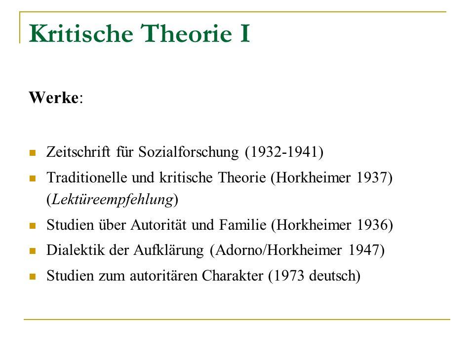Kritische Theorie I Werke: Zeitschrift für Sozialforschung (1932-1941)