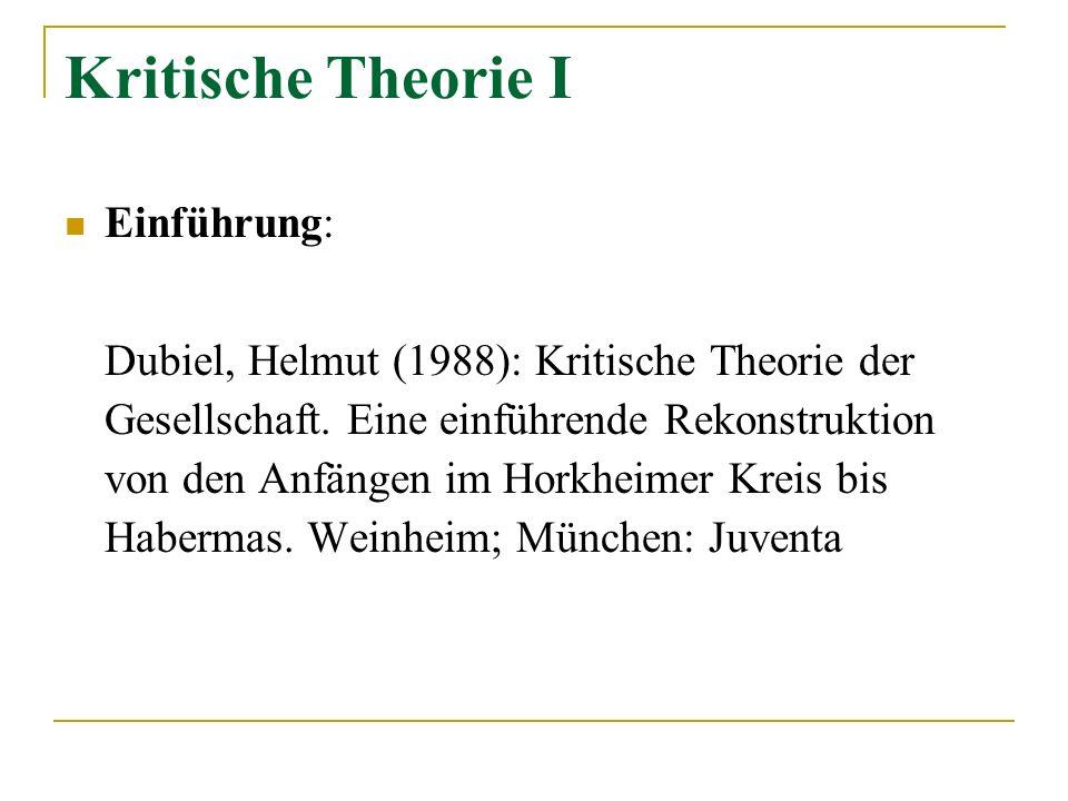 Kritische Theorie I Einführung: