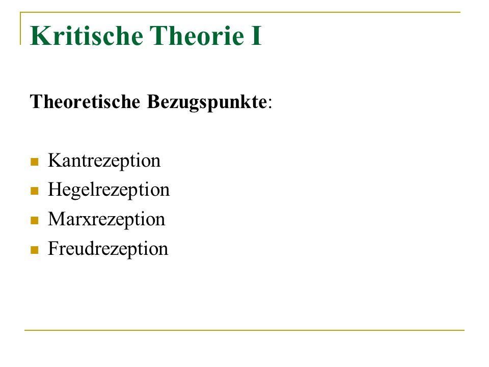 Kritische Theorie I Theoretische Bezugspunkte: Kantrezeption