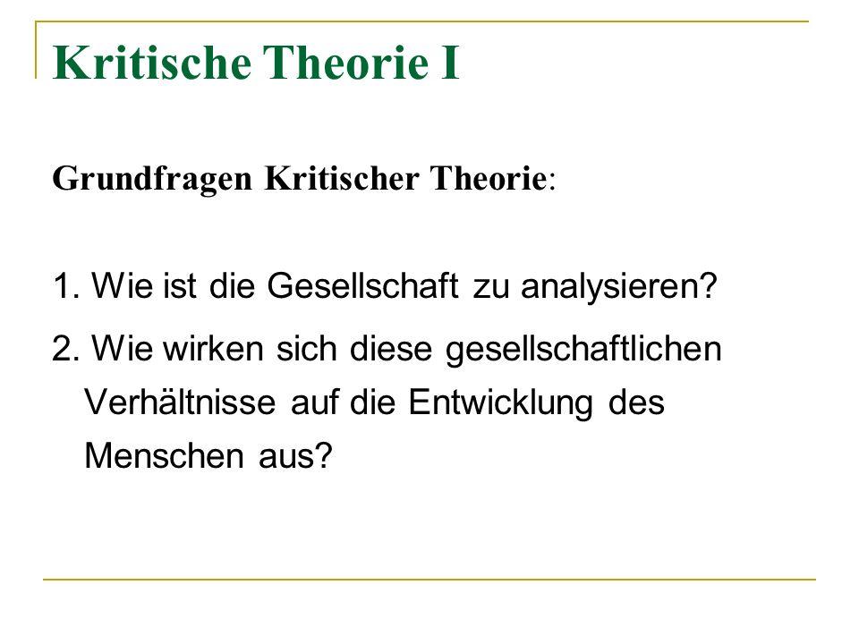 Kritische Theorie I Grundfragen Kritischer Theorie: