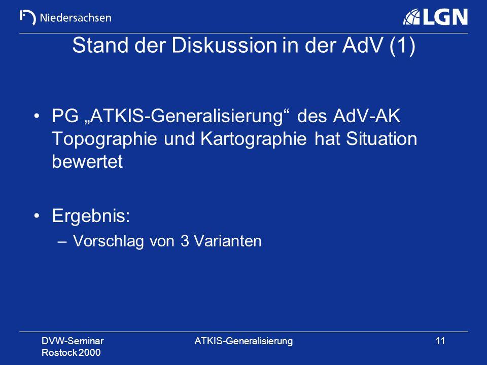 Stand der Diskussion in der AdV (1)