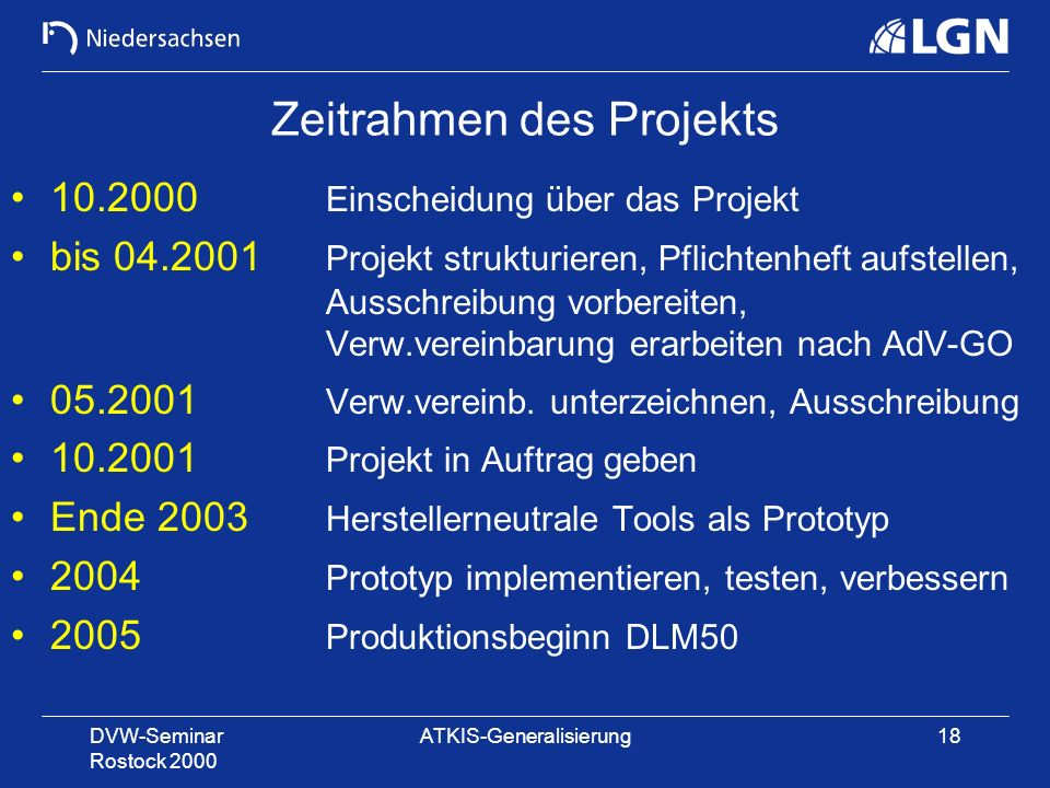 Zeitrahmen des Projekts