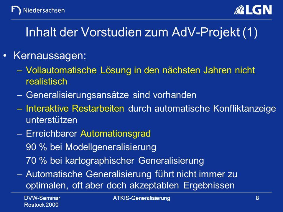 Inhalt der Vorstudien zum AdV-Projekt (1)