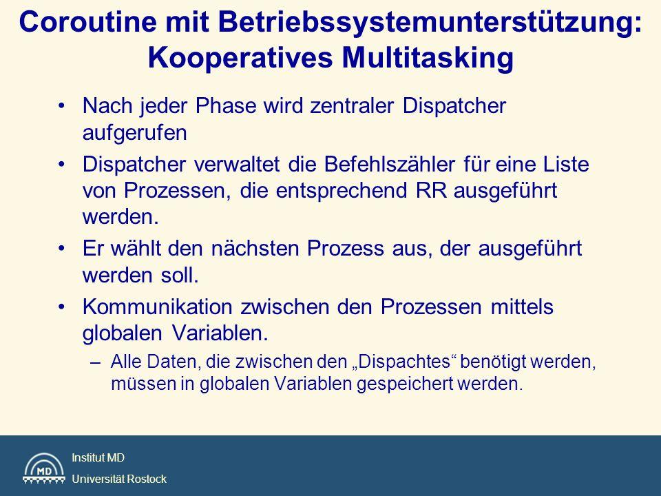 Coroutine mit Betriebssystemunterstützung: Kooperatives Multitasking