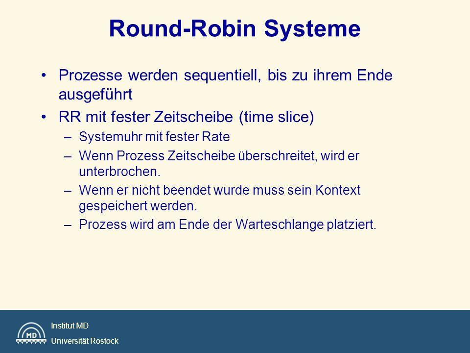 Round-Robin Systeme Prozesse werden sequentiell, bis zu ihrem Ende ausgeführt. RR mit fester Zeitscheibe (time slice)