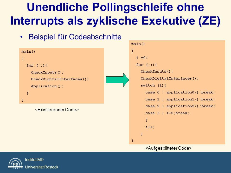 Unendliche Pollingschleife ohne Interrupts als zyklische Exekutive (ZE)