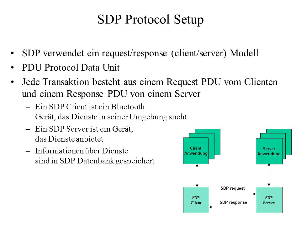 SDP Protocol Setup SDP verwendet ein request/response (client/server) Modell. PDU Protocol Data Unit.