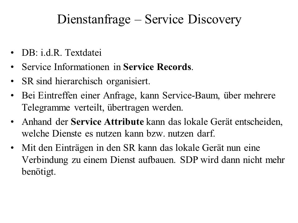 Dienstanfrage – Service Discovery