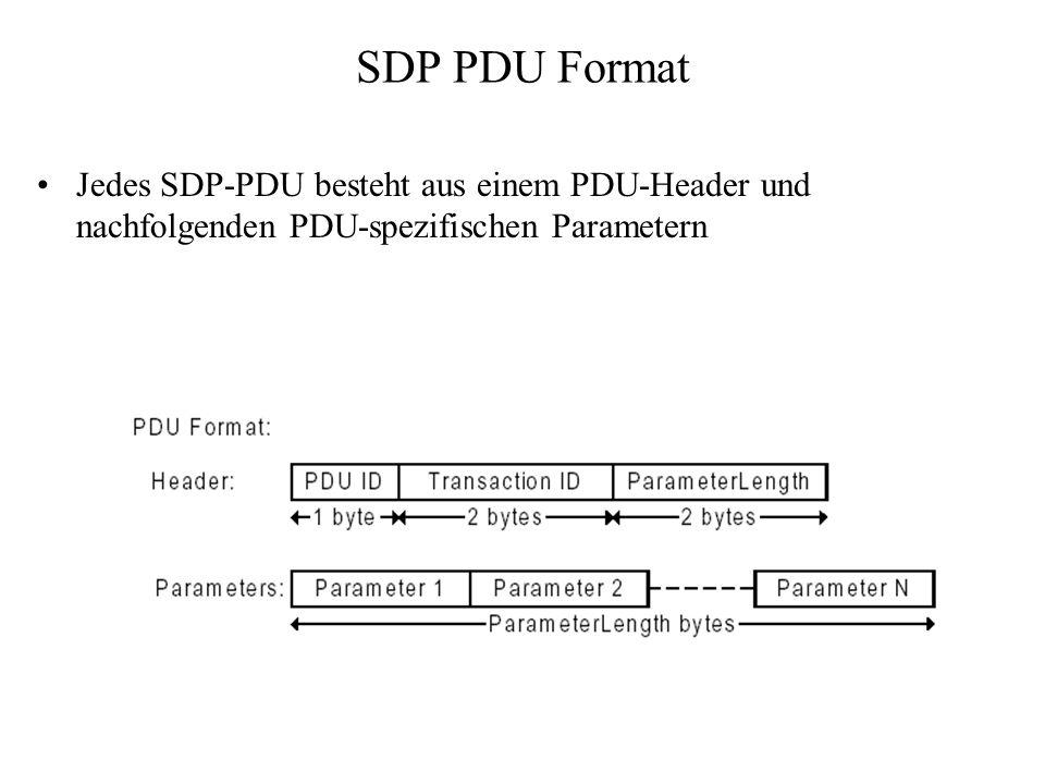 SDP PDU Format Jedes SDP-PDU besteht aus einem PDU-Header und nachfolgenden PDU-spezifischen Parametern.