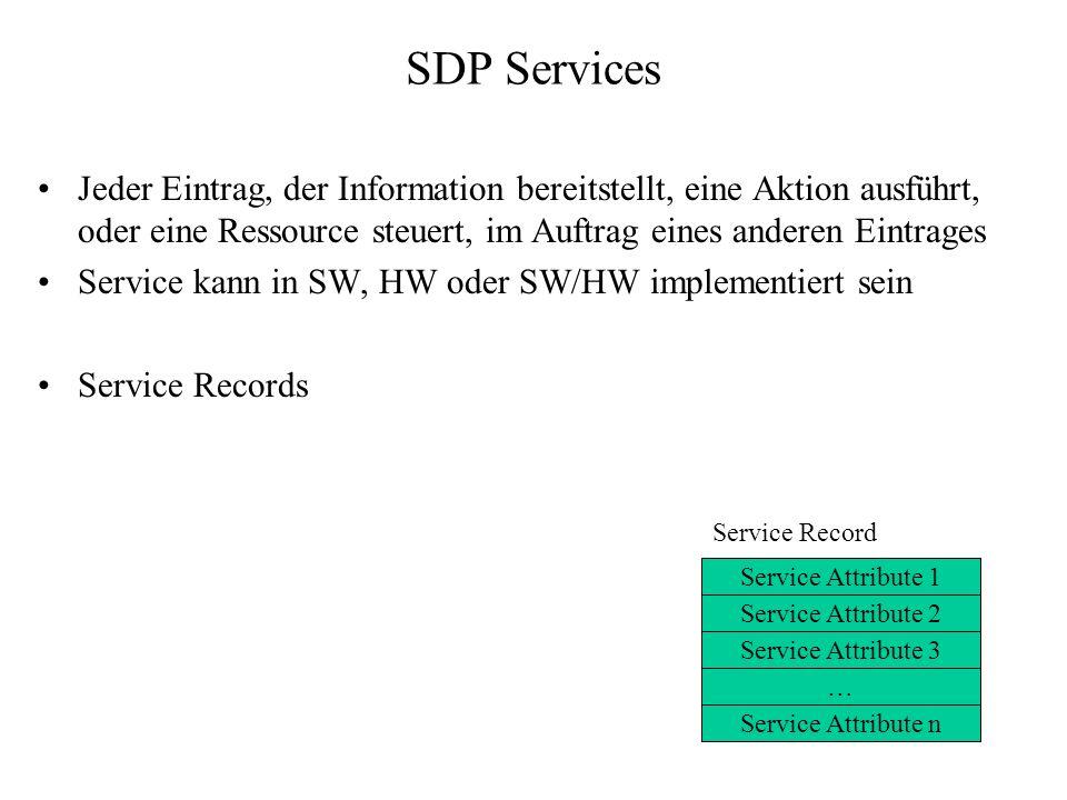 SDP Services Jeder Eintrag, der Information bereitstellt, eine Aktion ausführt, oder eine Ressource steuert, im Auftrag eines anderen Eintrages.