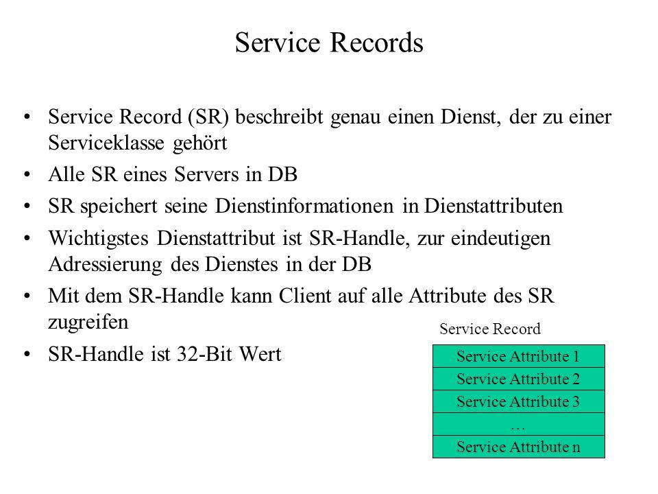 Service Records Service Record (SR) beschreibt genau einen Dienst, der zu einer Serviceklasse gehört.
