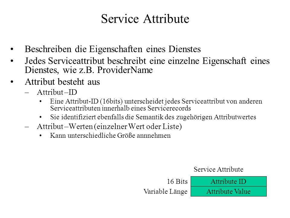 Service Attribute Beschreiben die Eigenschaften eines Dienstes