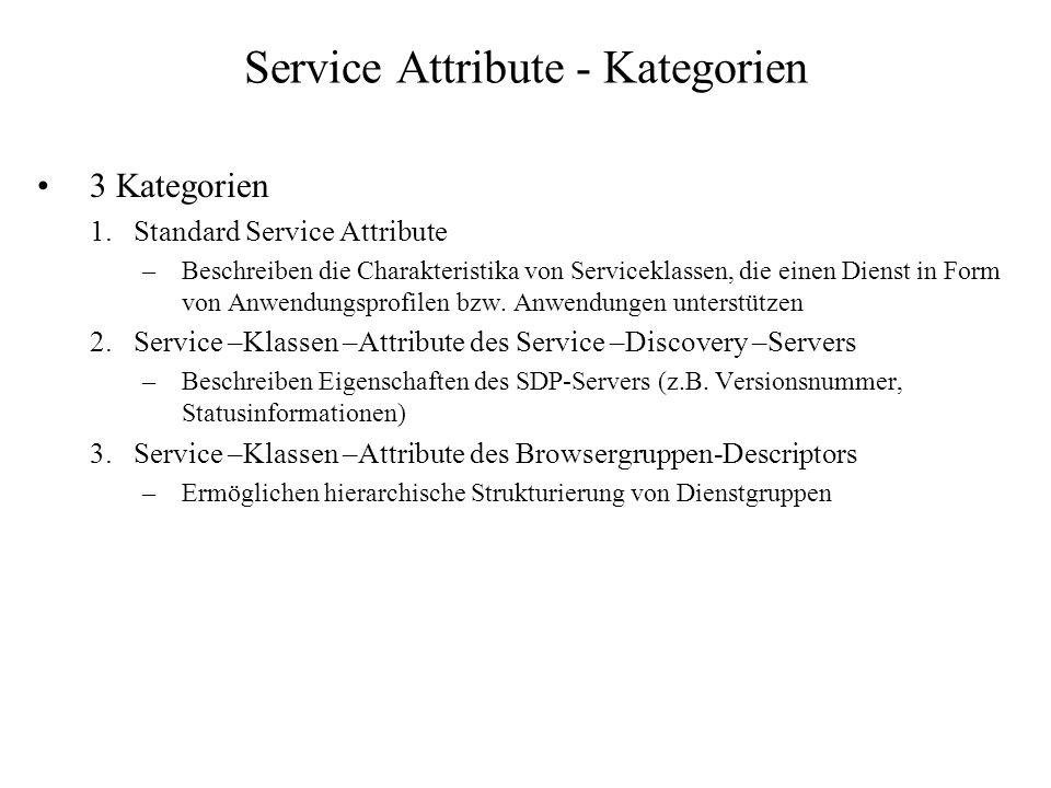 Service Attribute - Kategorien