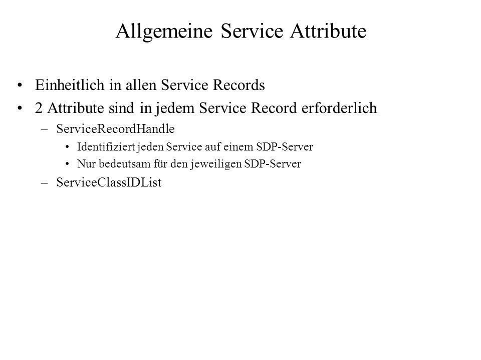 Allgemeine Service Attribute