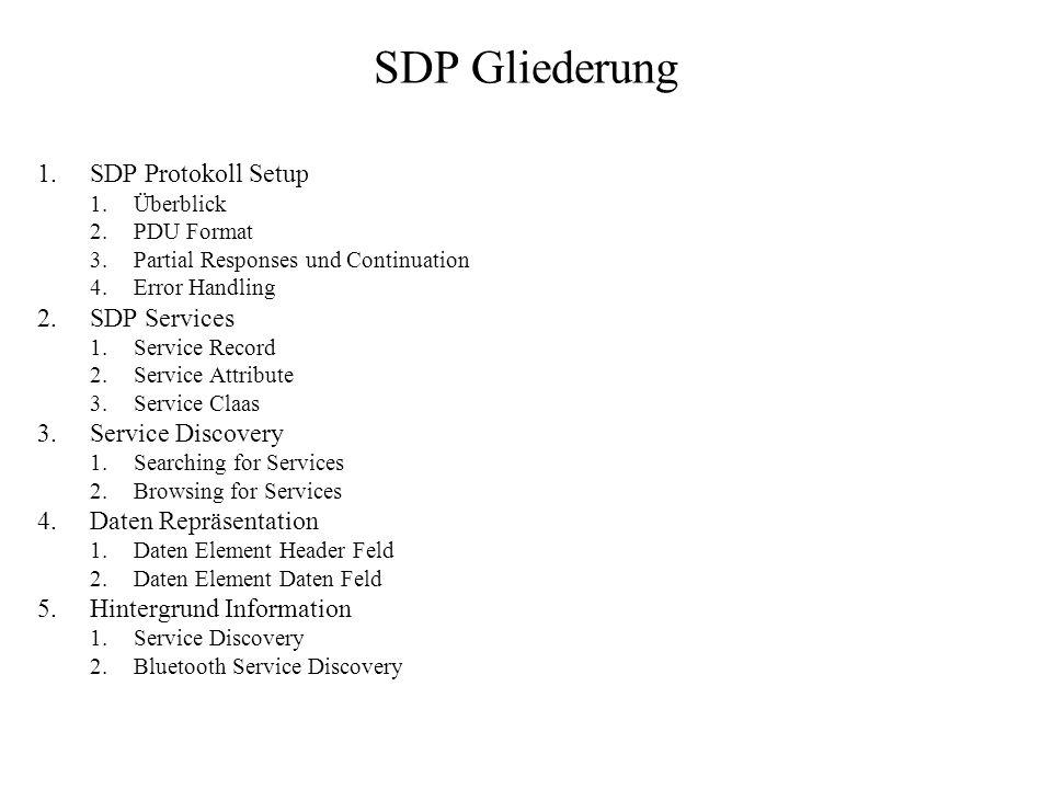 SDP Gliederung SDP Protokoll Setup SDP Services Service Discovery