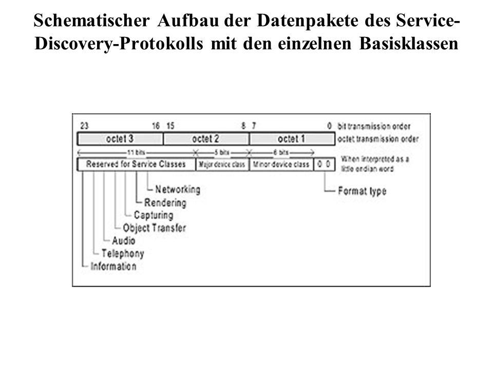 Schematischer Aufbau der Datenpakete des Service-Discovery-Protokolls mit den einzelnen Basisklassen