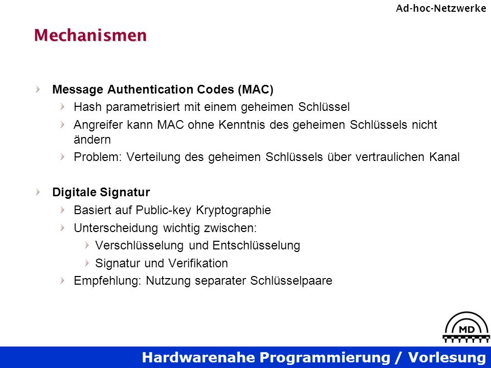 Mechanismen Message Authentication Codes (MAC)