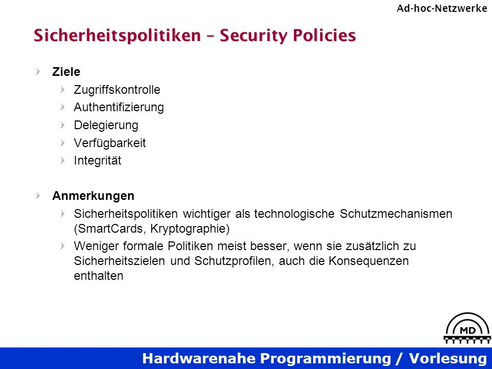 Sicherheitspolitiken – Security Policies