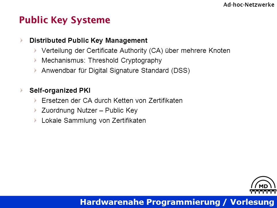 Public Key Systeme Distributed Public Key Management