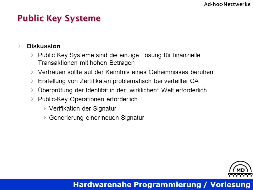 Public Key Systeme Diskussion