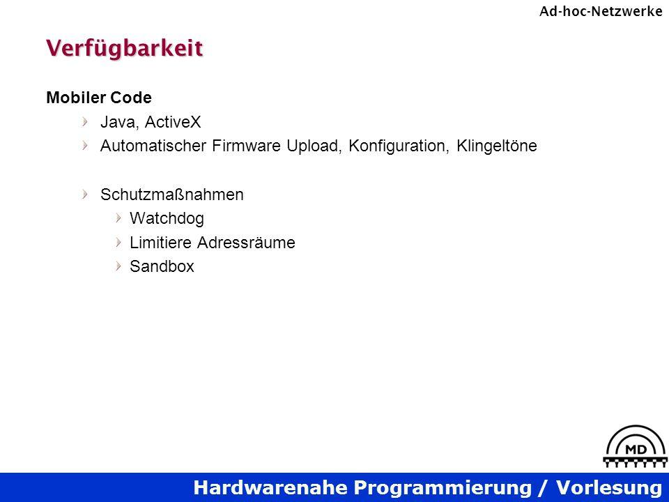 Verfügbarkeit Mobiler Code Java, ActiveX