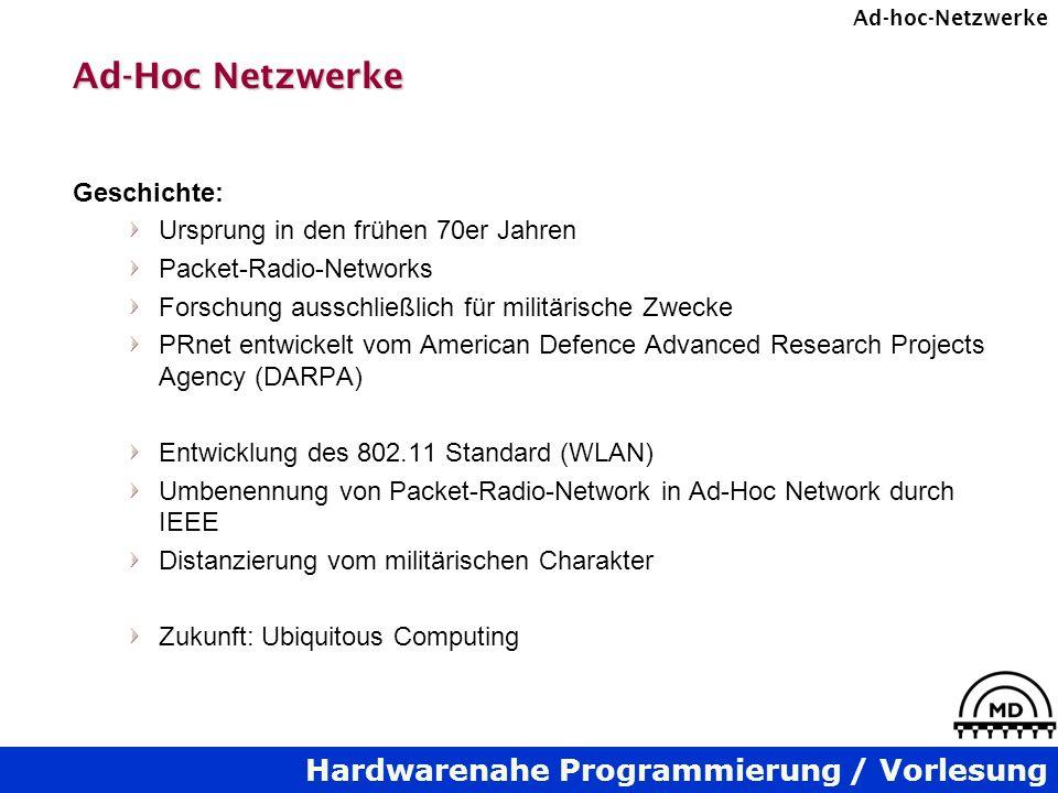 Ad-Hoc Netzwerke Geschichte: Ursprung in den frühen 70er Jahren