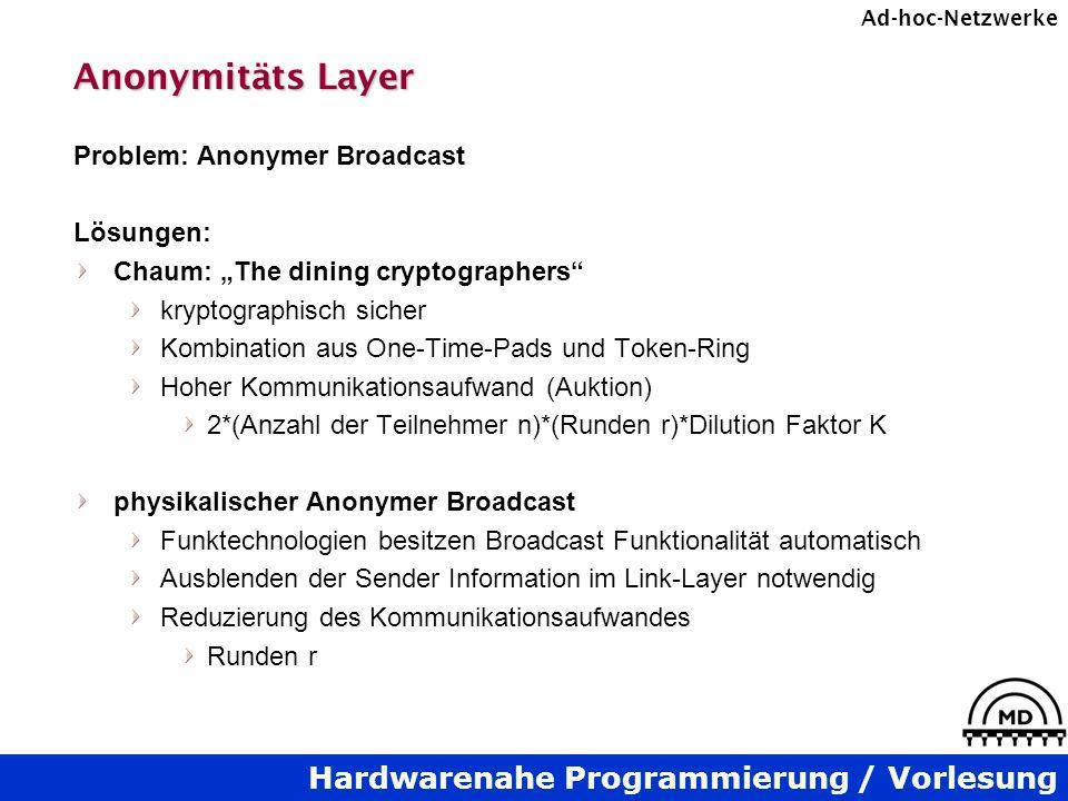Anonymitäts Layer Problem: Anonymer Broadcast Lösungen: