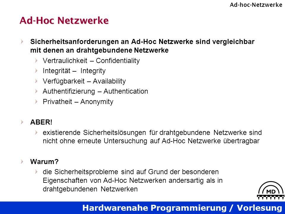 Ad-Hoc Netzwerke Sicherheitsanforderungen an Ad-Hoc Netzwerke sind vergleichbar mit denen an drahtgebundene Netzwerke.