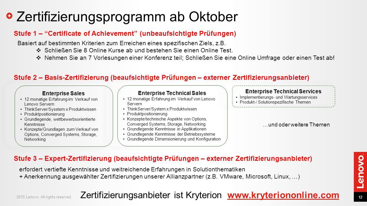 Zertifizierungsprogramm ab Oktober