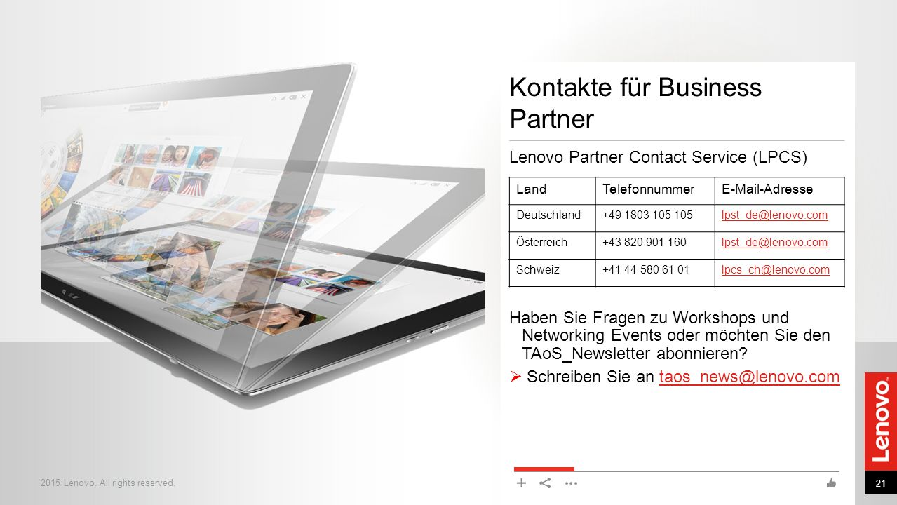 Kontakte für Business Partner