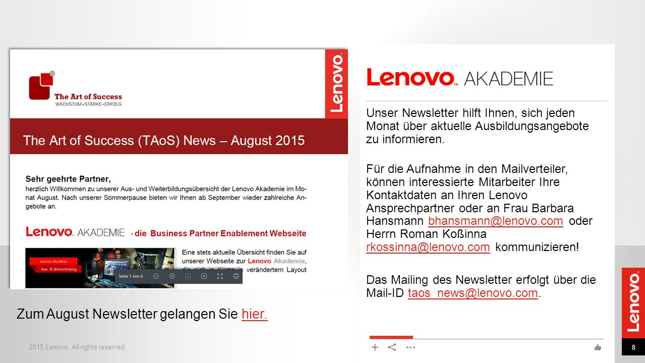 Zum August Newsletter gelangen Sie hier.