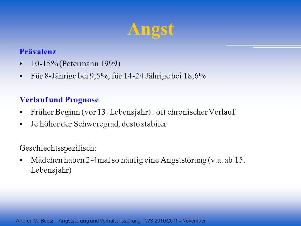 Angst Prävalenz 10-15% (Petermann 1999)