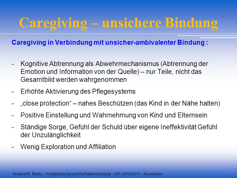 Caregiving – unsichere Bindung