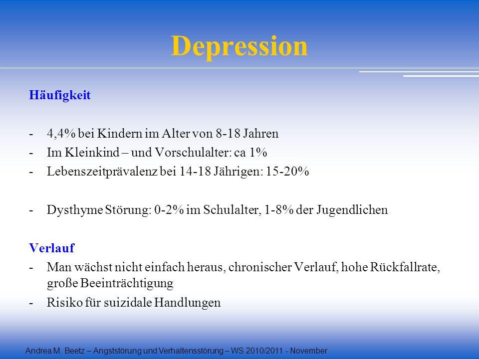 Depression Häufigkeit - 4,4% bei Kindern im Alter von 8-18 Jahren